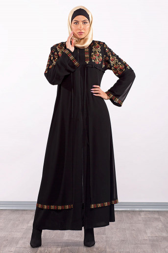 Black Abaya with colored embroidery
