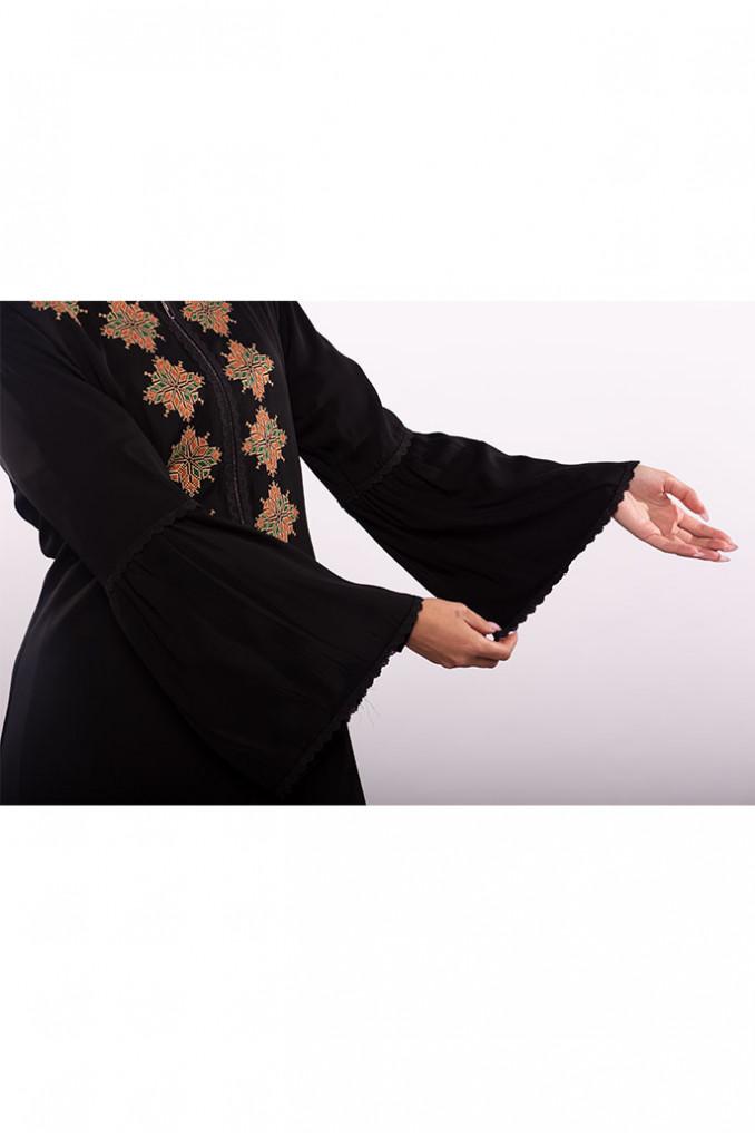 Orange Embroidery Abaya