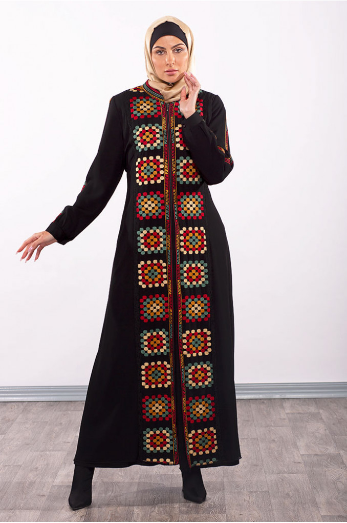 Square Embriodery Abaya