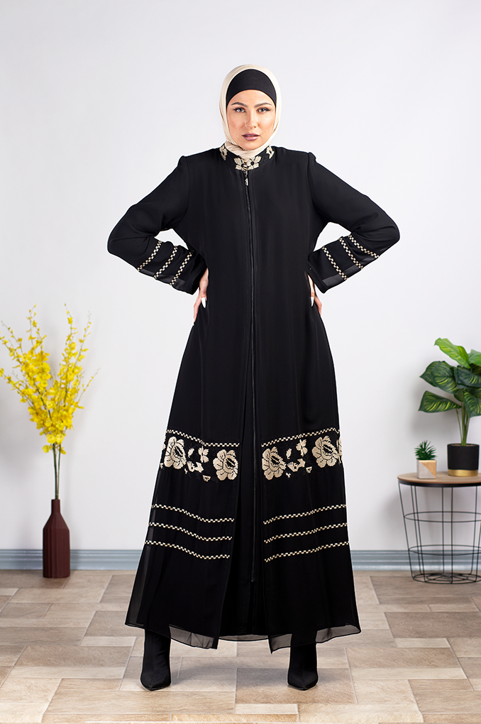 Black Flora Embroidered Abaya