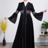 Waist Embroidered Black Abaya