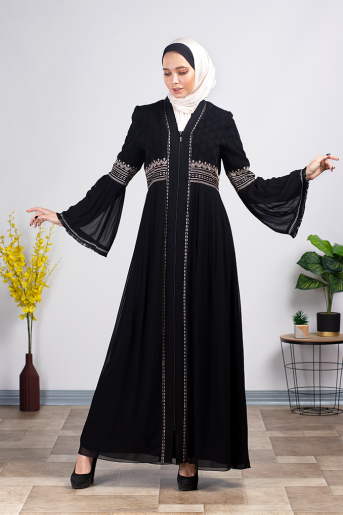 Waist Embroidered Black Abaya