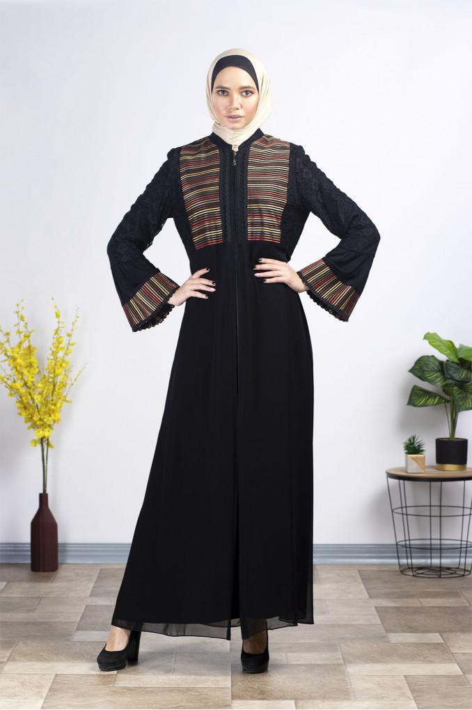 Elegant embroidered Chiffon Abaya