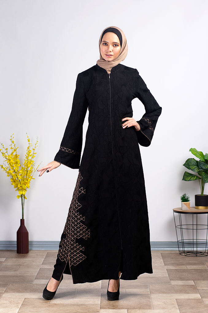 Semi Formal Black Abaya with patterned embroidery