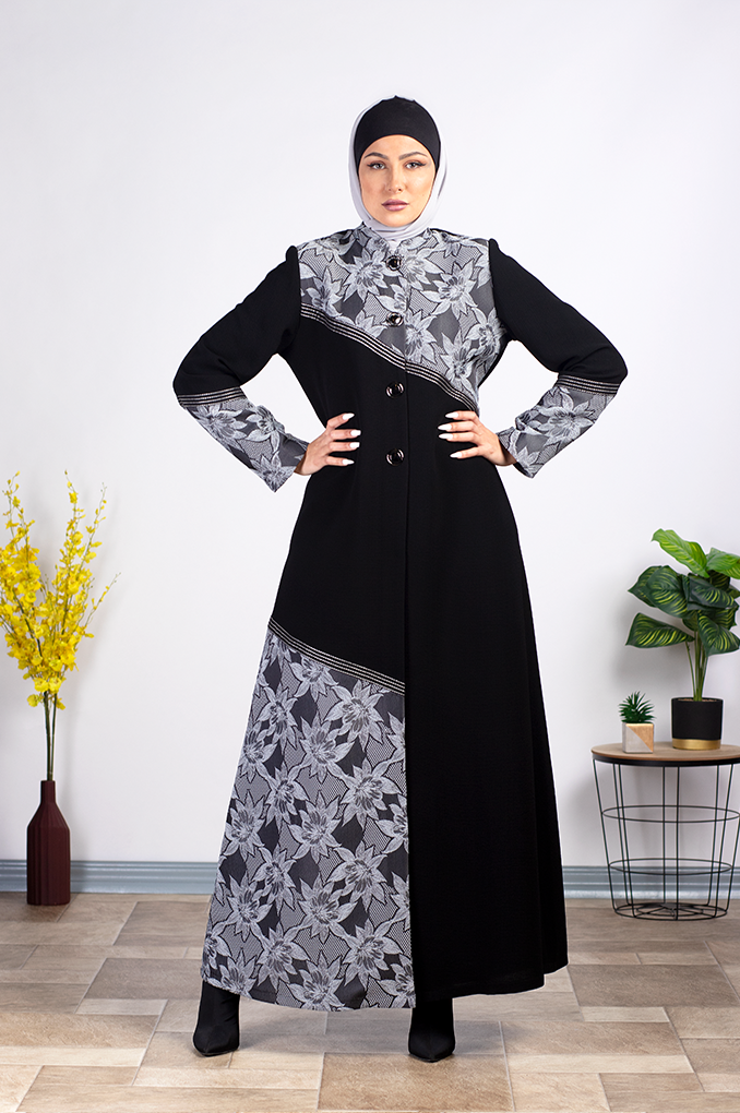 Elegant Flora pattern Abaya with clips to close