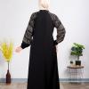 A simple Black puffed sleeves Abaya