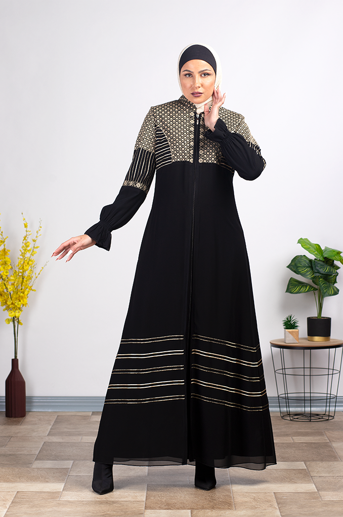 Modish Embroidered Black Abaya