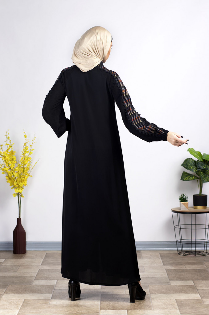 Elegant ruched sleeves embroidered Abaya