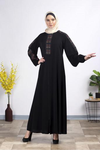 Elegant ruched sleeves embroidered Abaya