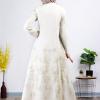 Elegent white lined Abaya