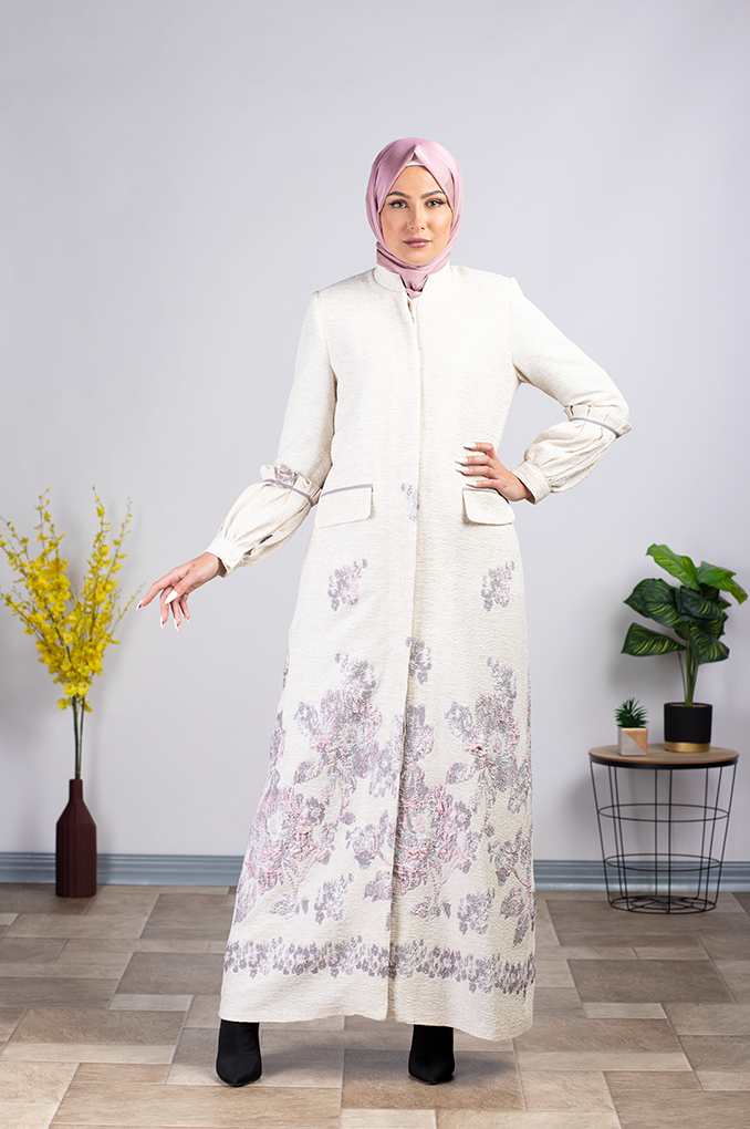 Dark White Elegent Flora Patterned Abaya