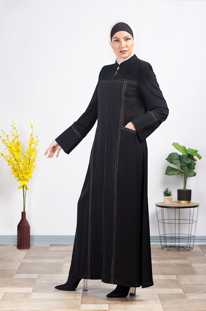 Semi Formal Black Embroidered Abaya