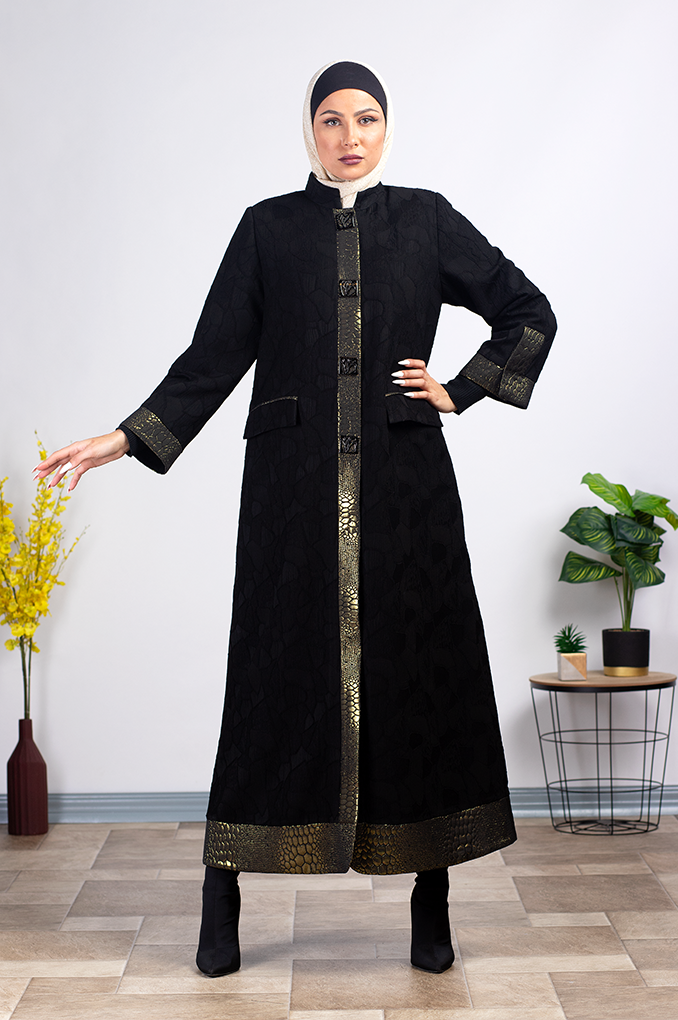 Short Formal black and gold Abaya