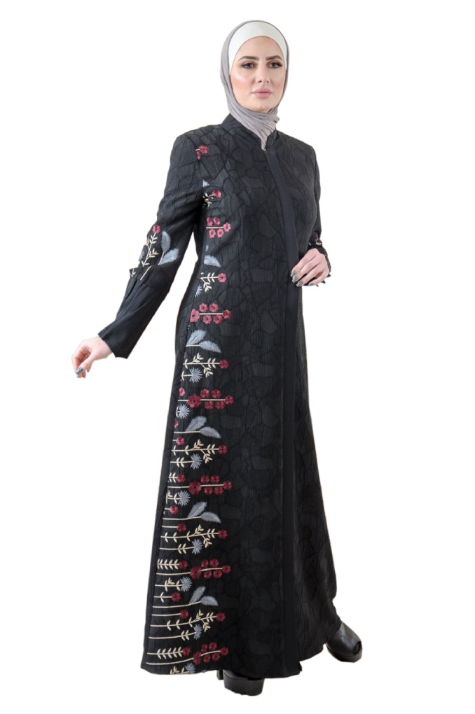 Elegant Black Abaya with Flora embroidery