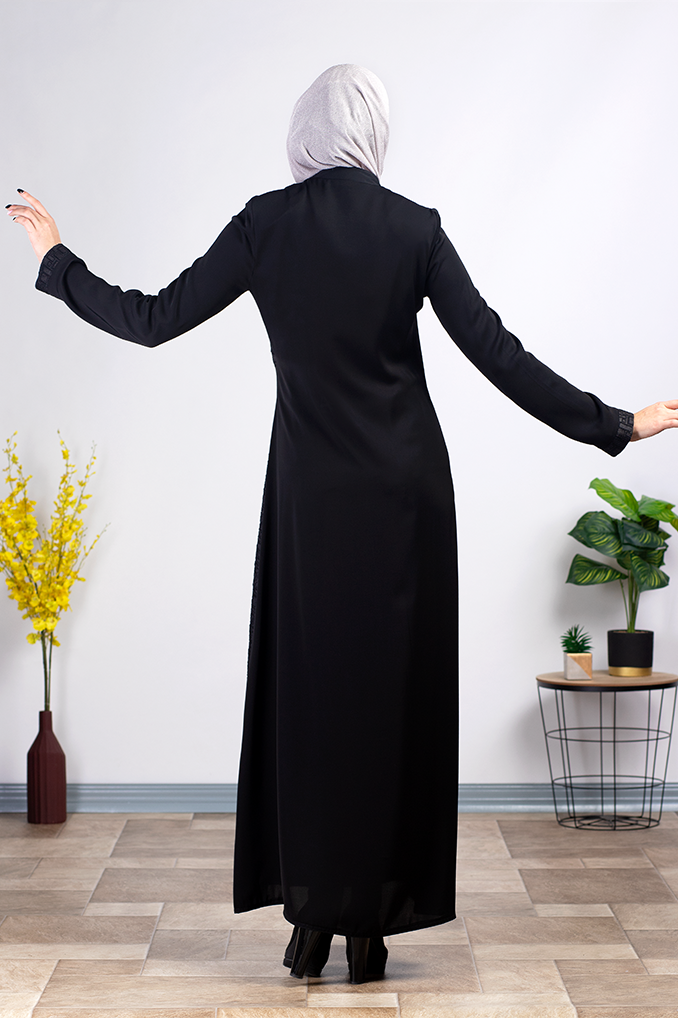 Casual Black Abaya with Belt