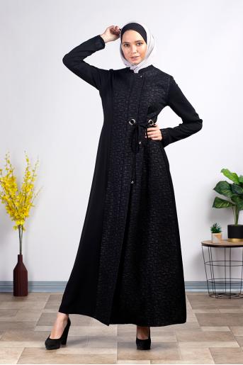 Casual Black Abaya with Belt