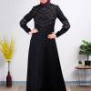 Modern Ruched sleeves embroidered Abaya