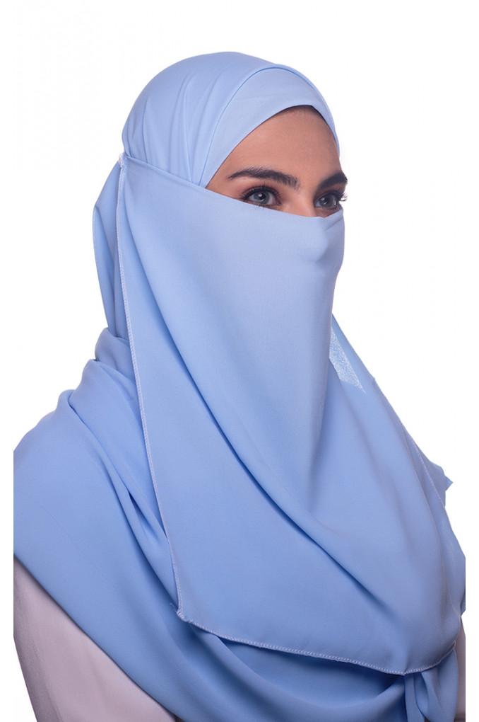Blue plain Georgette Niqab