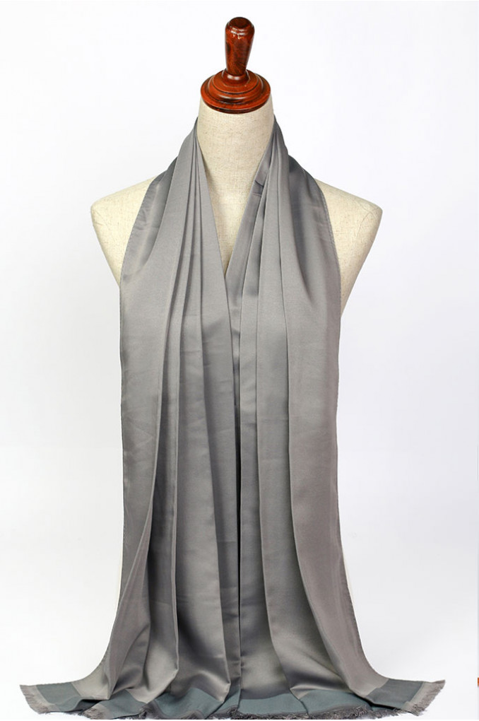 Bright Gray Silk Scarf
