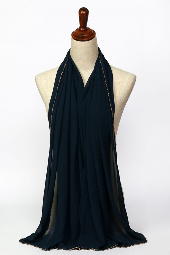 Drak-Blue Plain Scarf