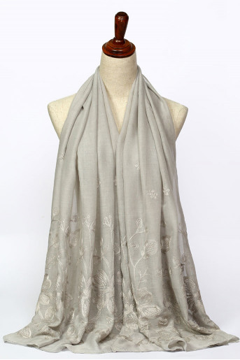 Gray Jacquard Shawl