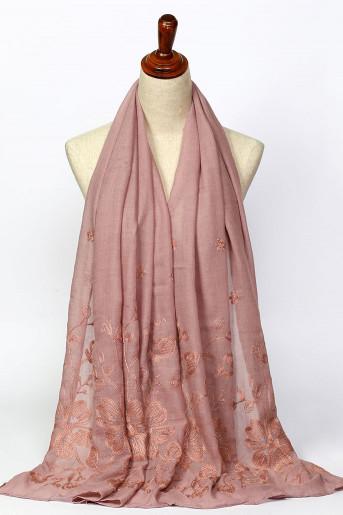 Pink Jacquard Scarf