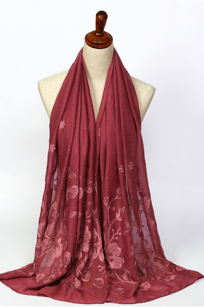 Red Jacquard Scarf
