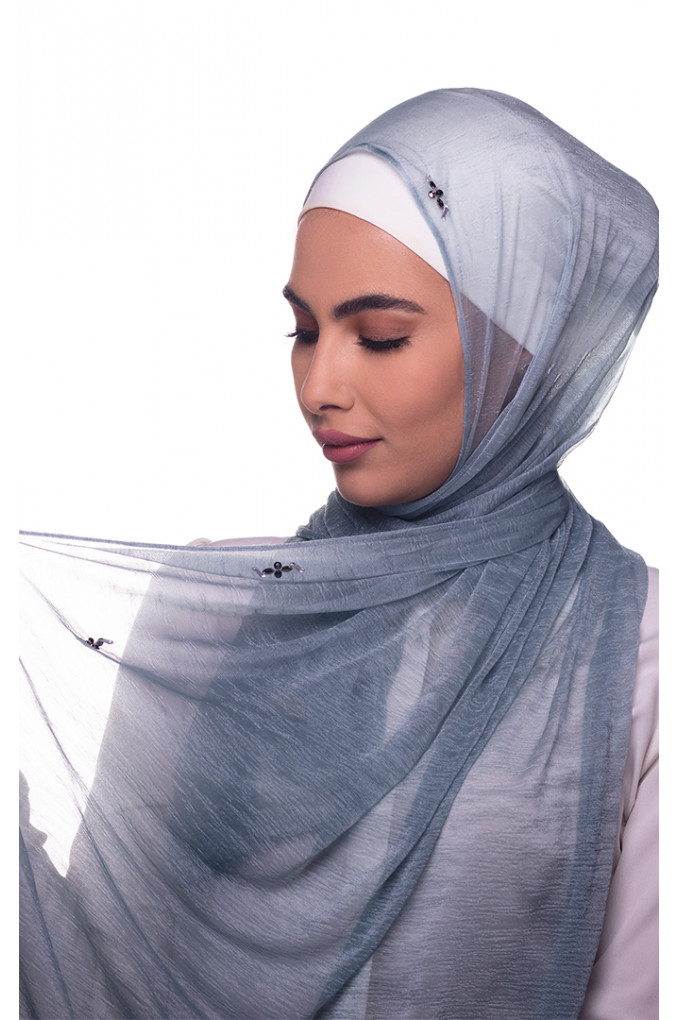 Baby blue Plain  cashmere Shawl made in Kuwait