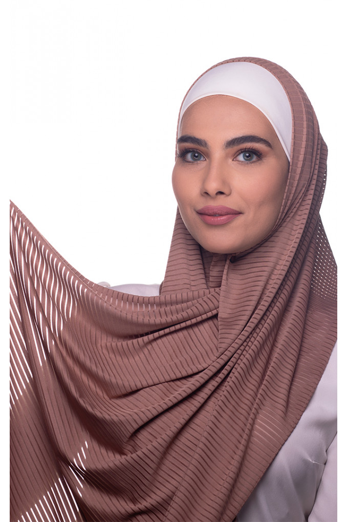 Brown Plain Polyester and Lycra Shawl