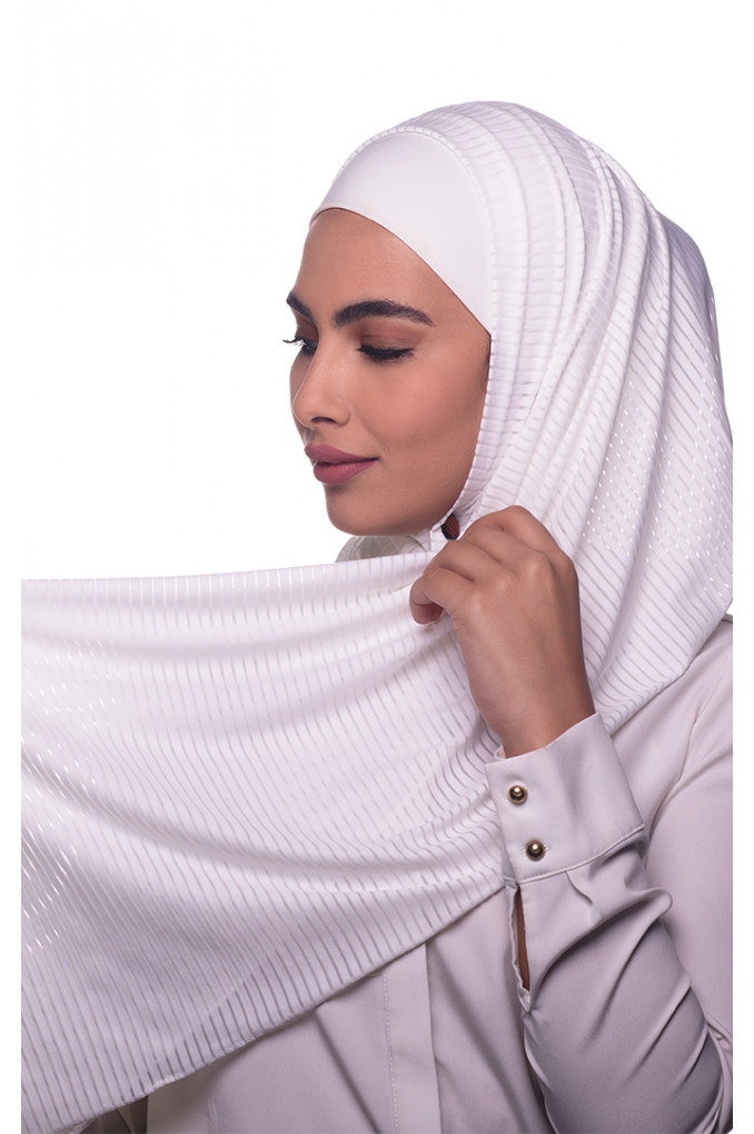 White Plain Polyester and Lycra Shawl