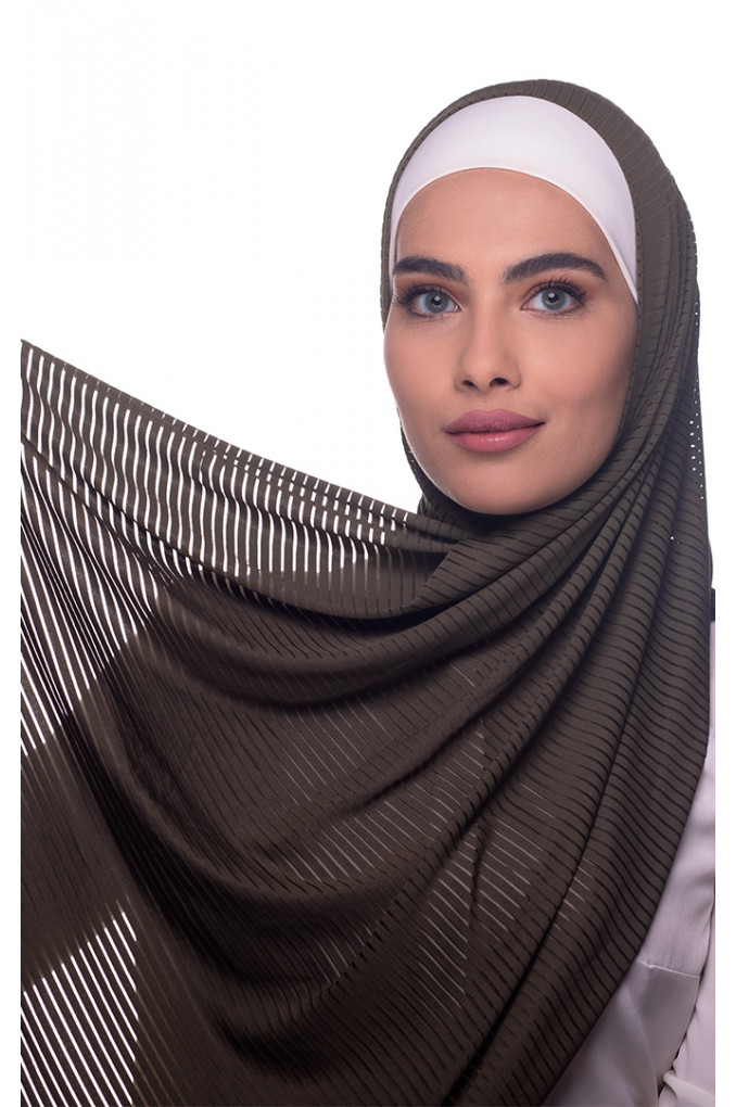 Army Plain Polyester and Lycra Shawl
