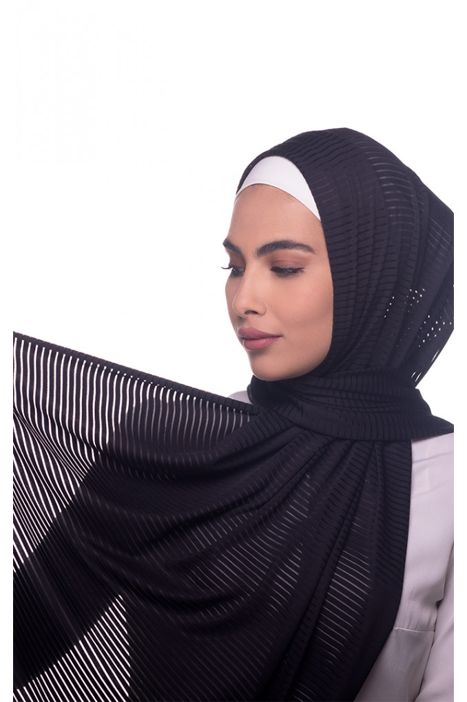 Black Plain Polyester and Lycra Shawl