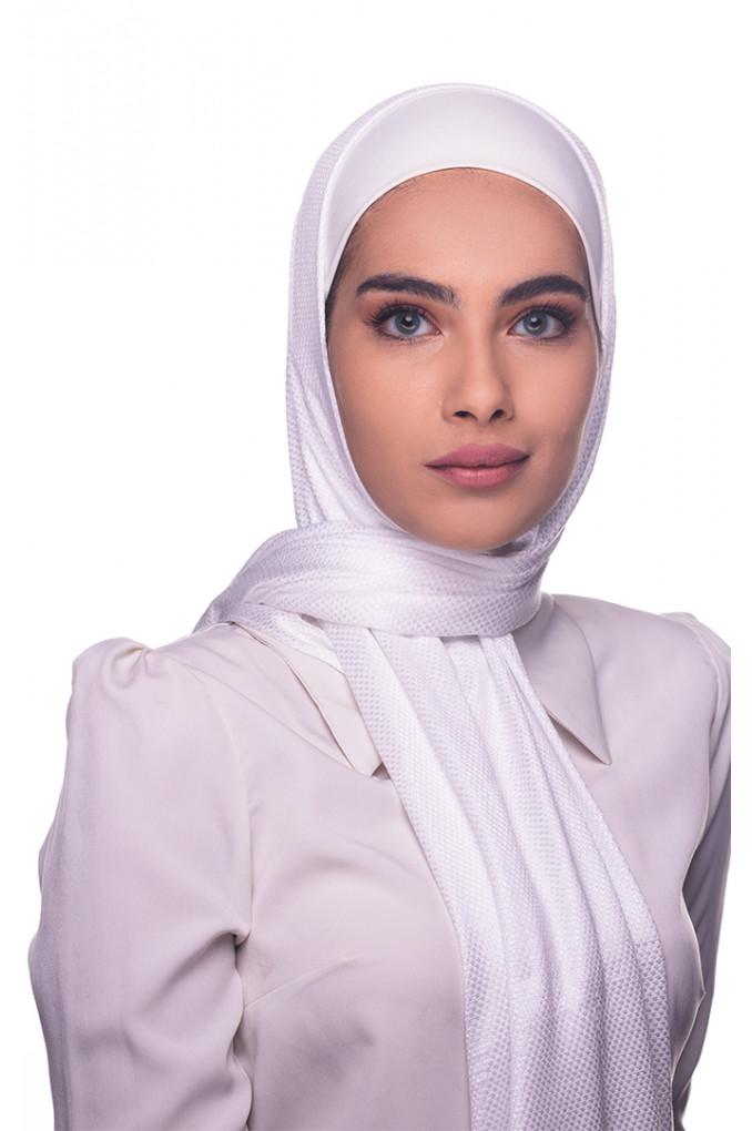 White cotton patterned Shawl