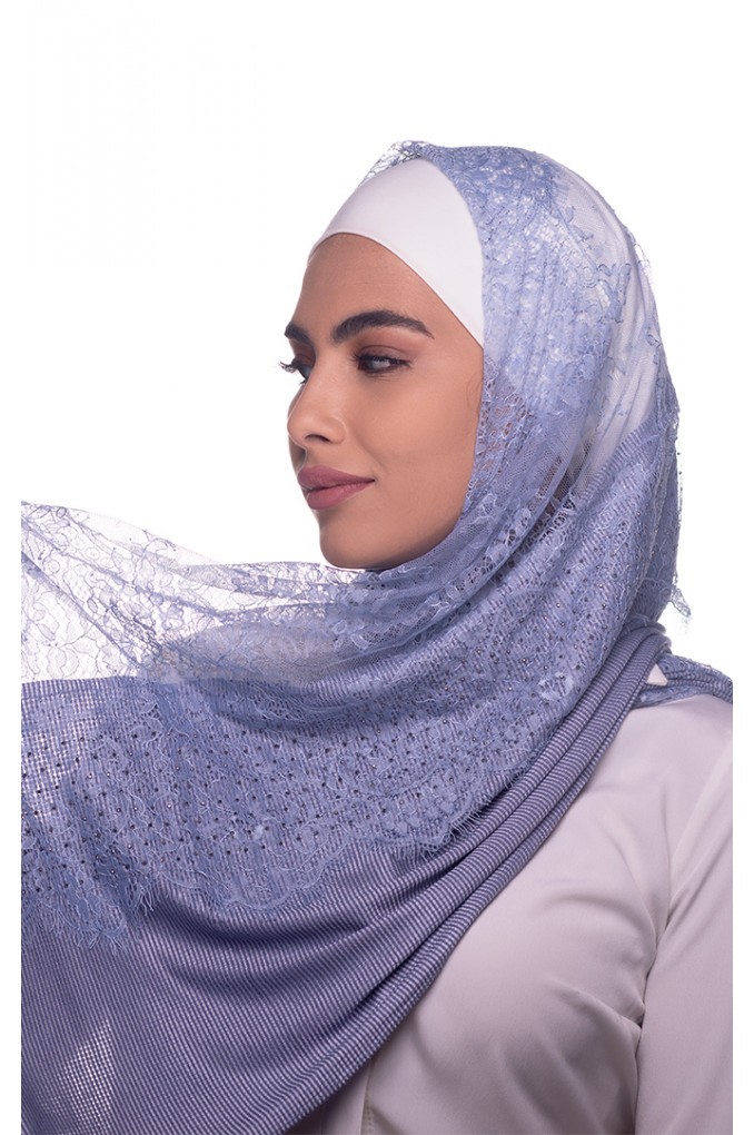 Blue Plain Shawl Made From Dental and Cotton
