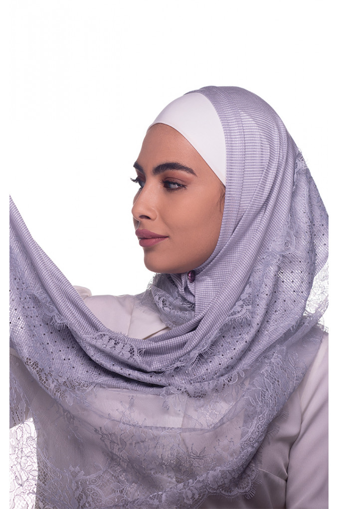 Silver Plain Shawl Made From Dental and Cotton
