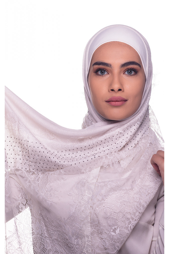 Off white Plain Shawl Made From Dental and Cotton