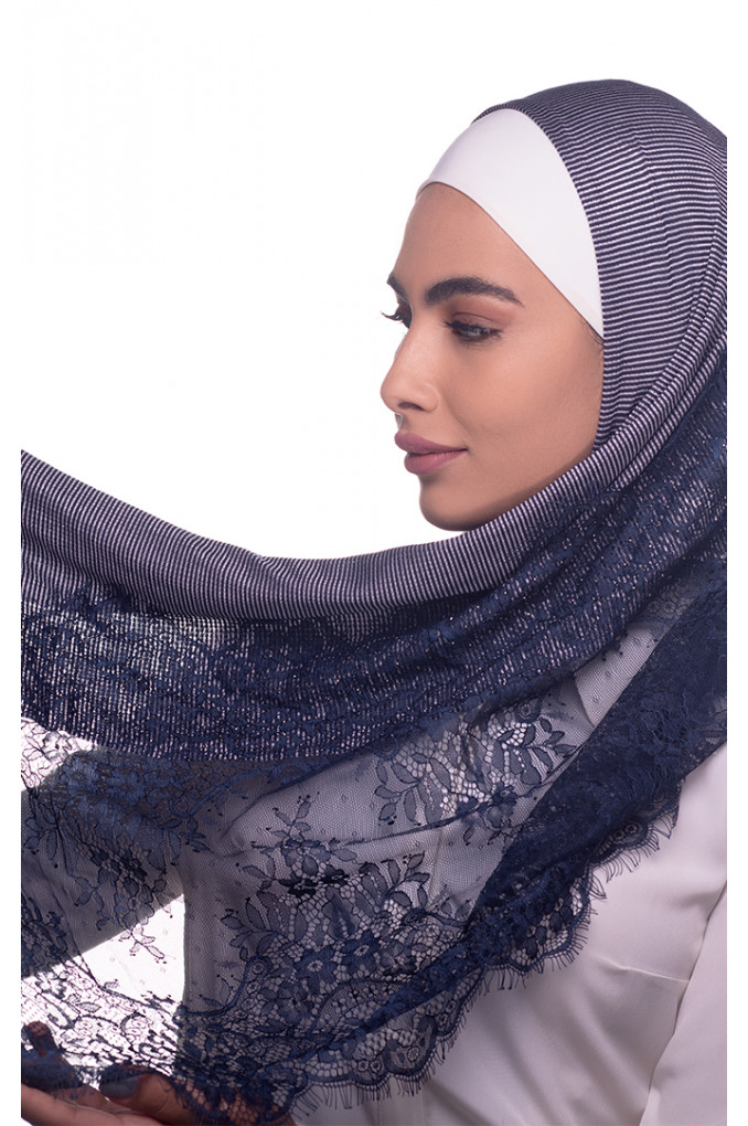 Dark blue Plain Shawl Made From Dental and Cotton