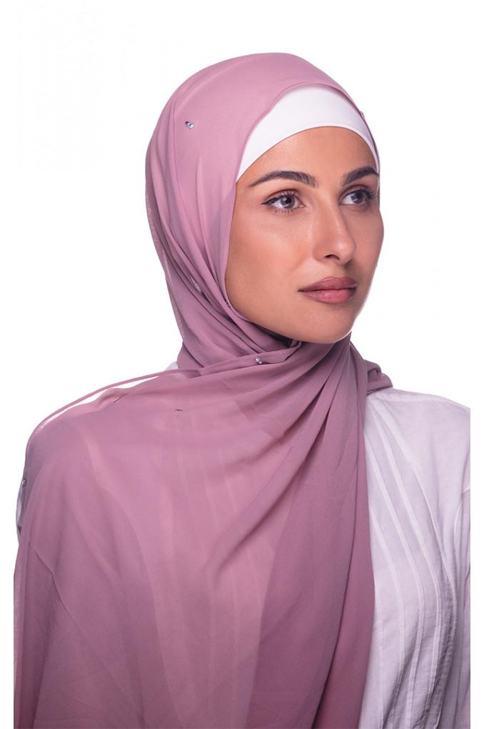 Pink Plain chiffon Shawl