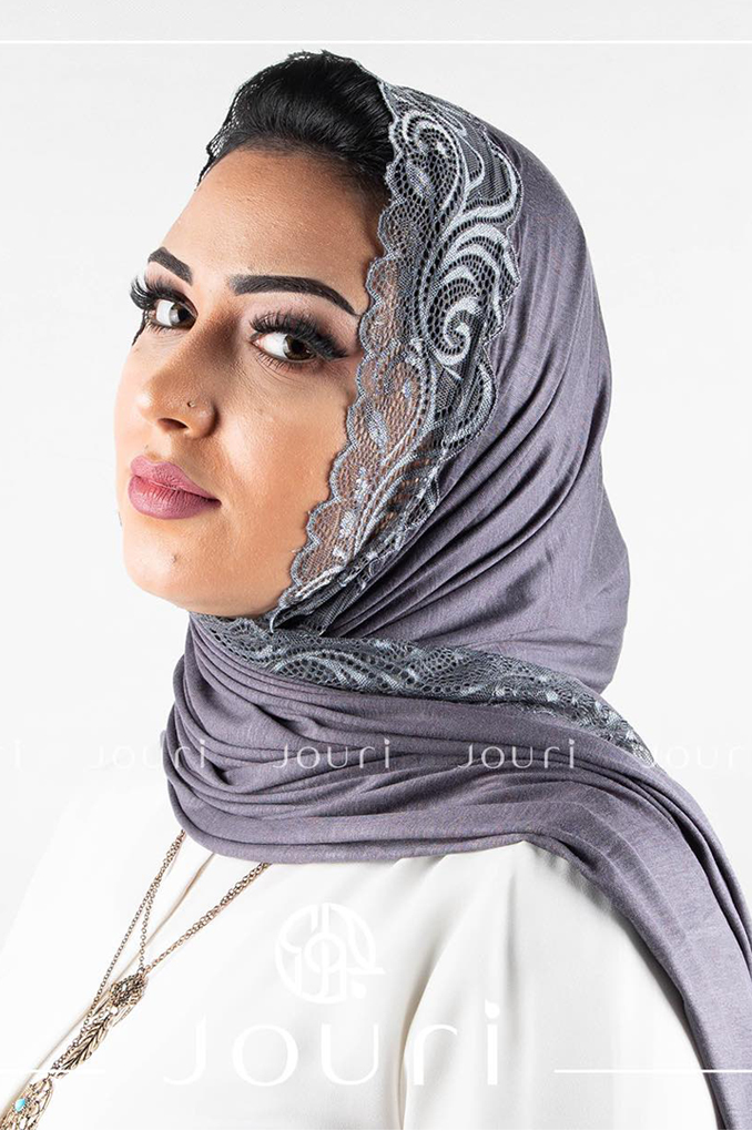 Dark Gray Plain Shawl Made From Dental and Cotton