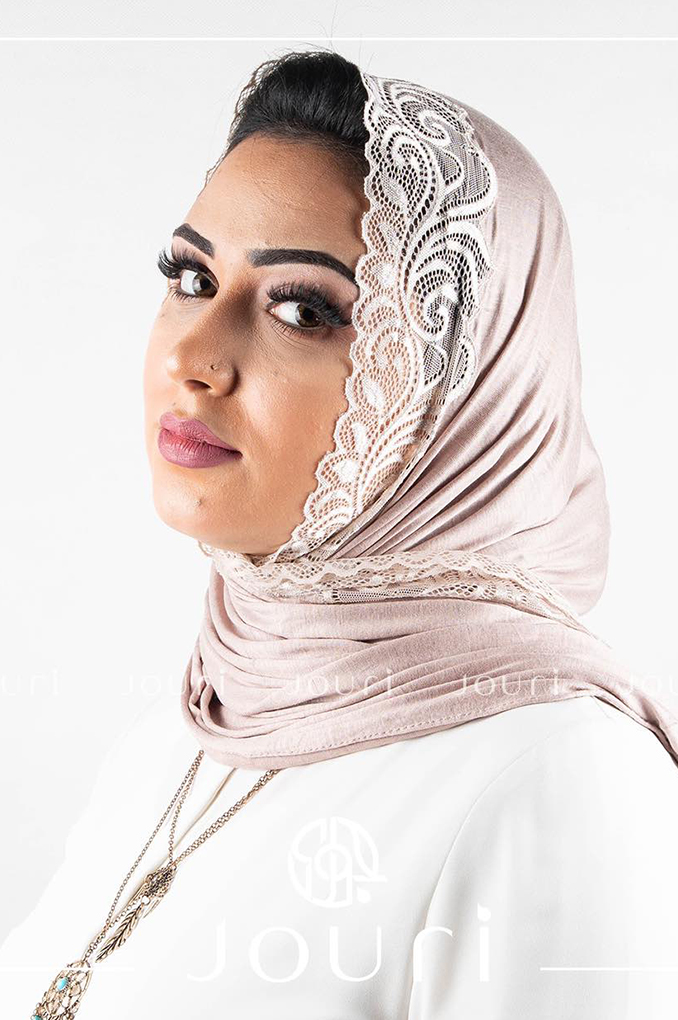 light Beige Plain Shawl Made From Dental and Cotton