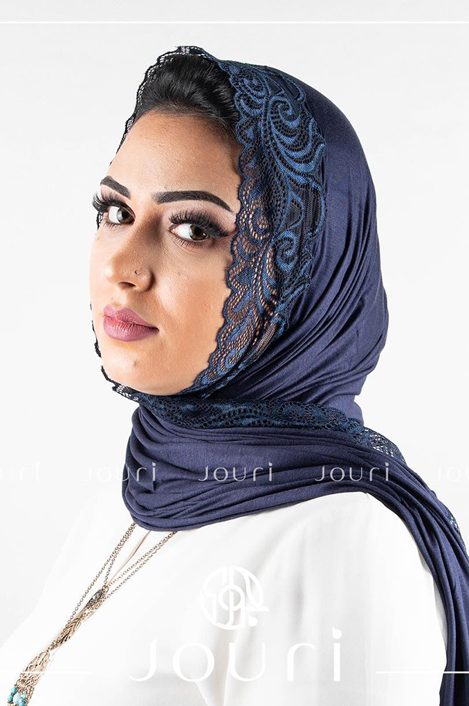 Navy Blue Plain Shawl Made From Dental and Cotton