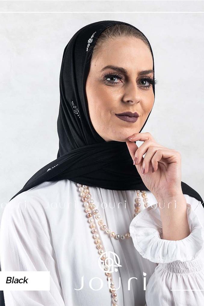 Black Plain Cotton Shawl