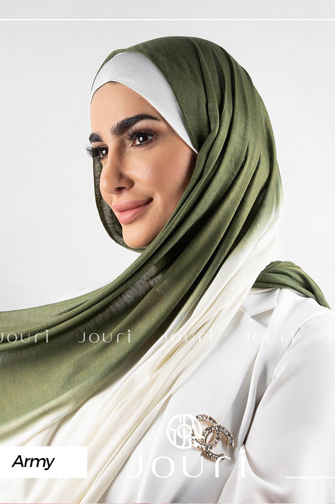 Army and Beige Multi colored cotton Stylish Shawl