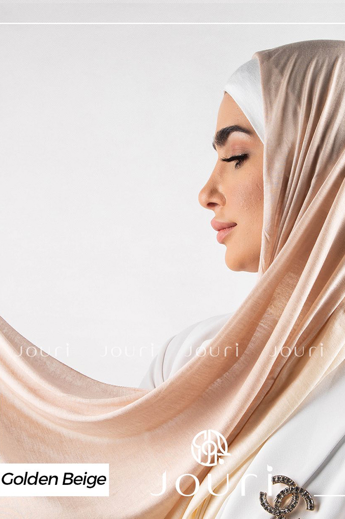 Golden Beige and Light Beige Multi colored cotton Stylish Shawl