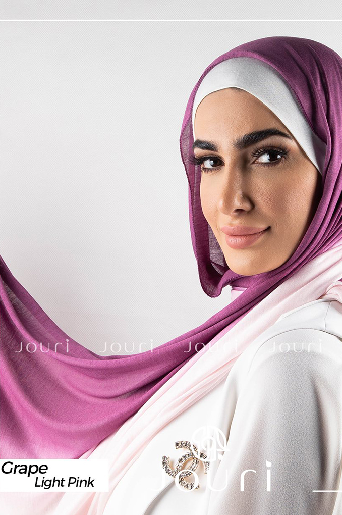 Grape and light pink Multi colored cotton Stylish Shawl