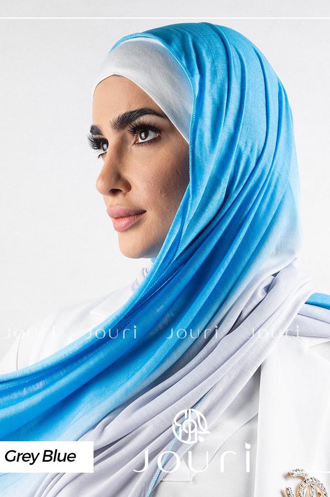 Light blue multi colored cotton Stylish Shawl