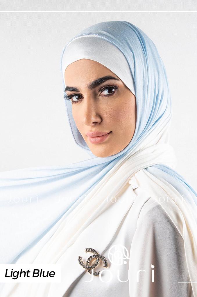 Light Blue and white Multi colored cotton Stylish Shawl