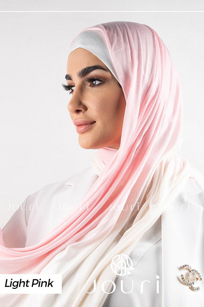 Light Pink and white Multi colored cotton Stylish Shawl