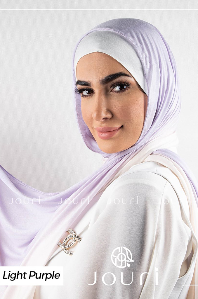 Light Purple and White Multi colored cotton Stylish Shawl