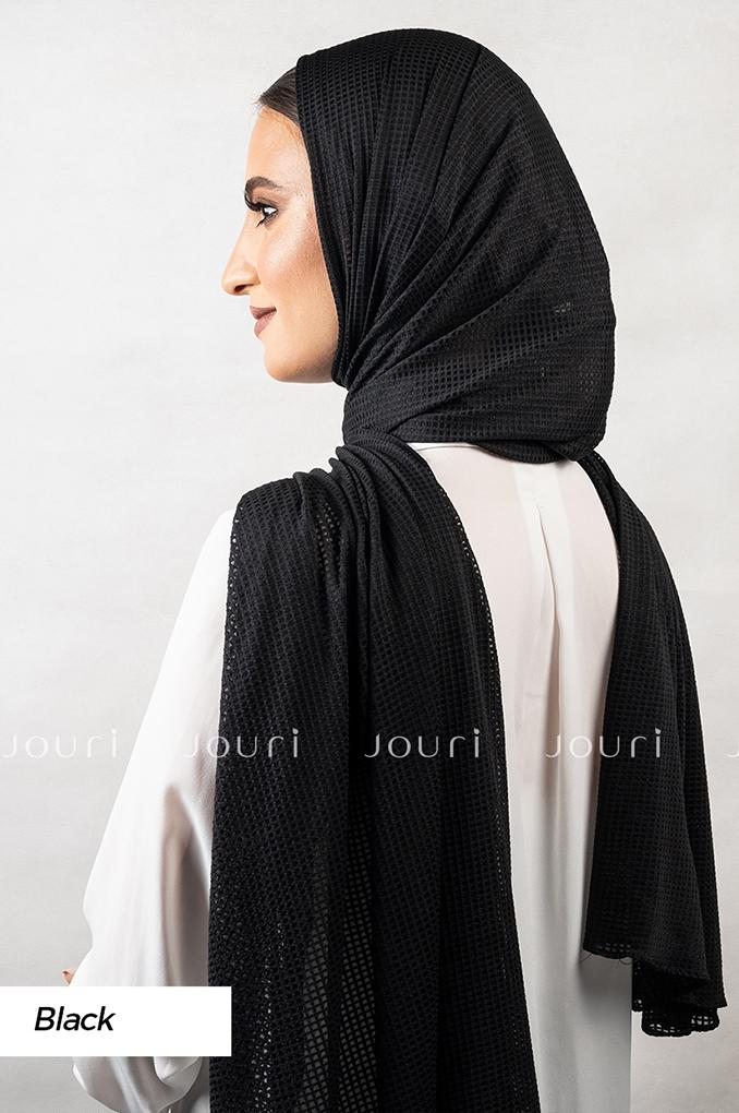 Black Plain Polyester Jacquard Shawl